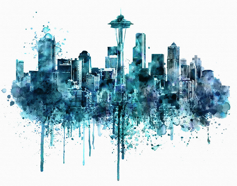 900x707 Seattle Skyline Monochrome Watercolor Painting By Marian Voicu
