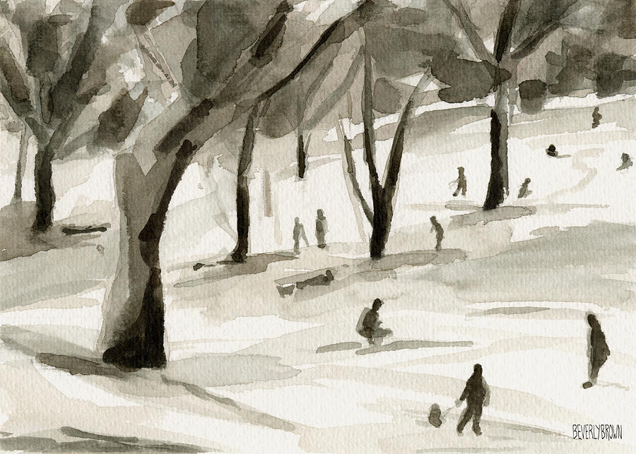 900x643 Sledding In The Snow Watercolor Painting Of Central Park Nyc