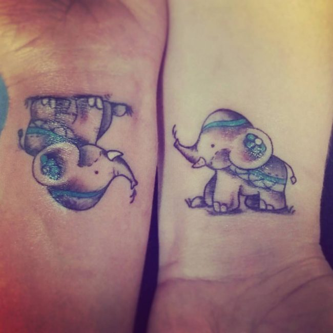 Mom And Baby Elephant Tattoo Watercolor Ataccs Kids
