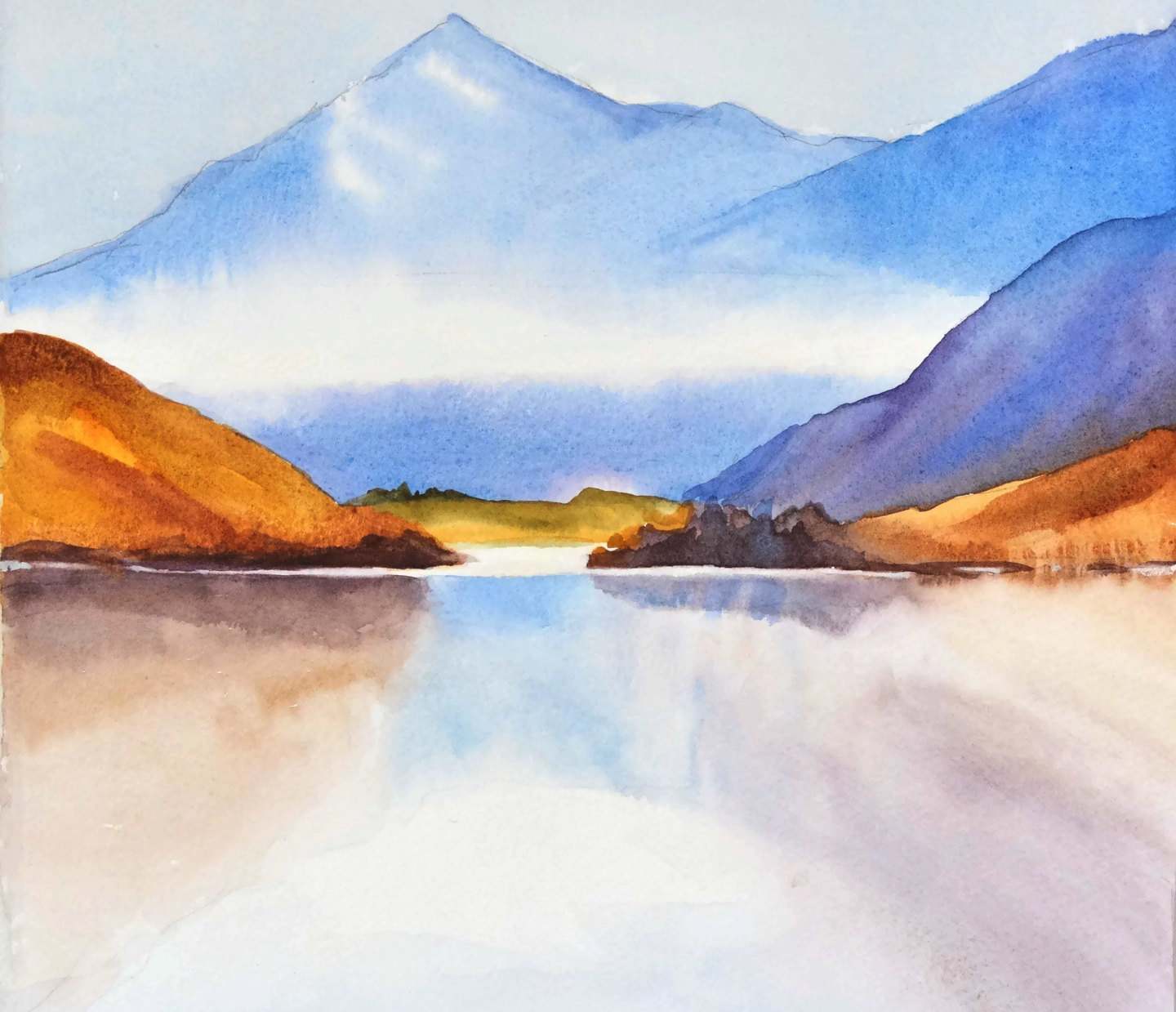 1440x1239 Mountain Watercolor Painting Landscape Mountain Print Living Etsy