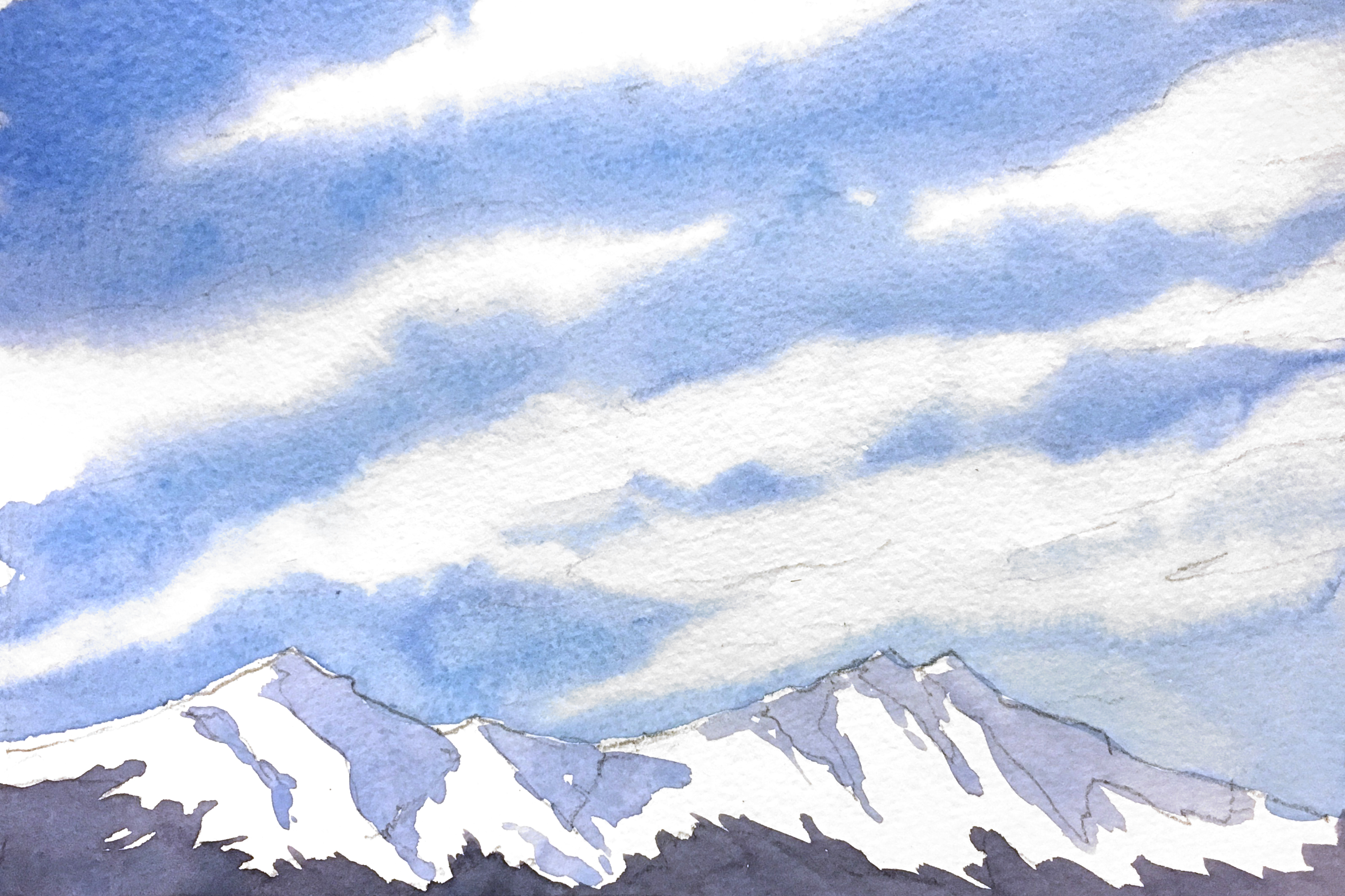 3190x2127 Painting A Sky With Wispy Cirrus Clouds Amp Snow Capped Mountains