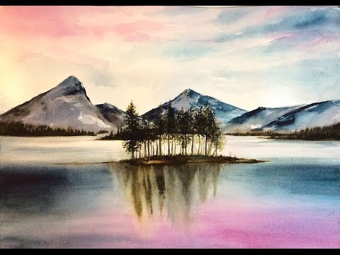 480x360 Watercolor Mountains Painting Demonstration