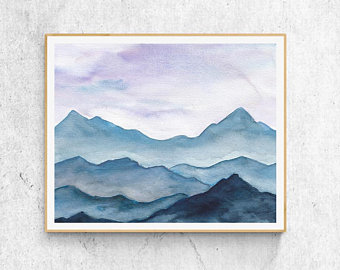 340x270 Watercolor Mountains Etsy