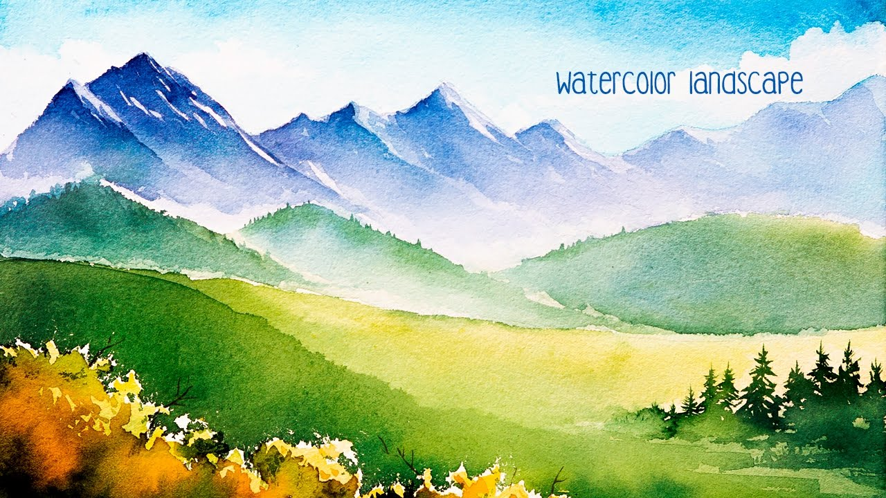 1280x720 Watercolor Mountains.