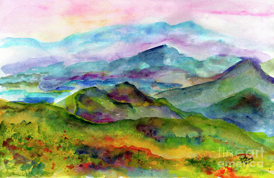 900x585 Blue Ridge Mountains Georgia Landscape Watercolor Painting By