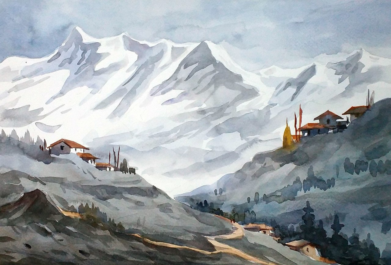 1280x869 Buy Majestic Himalayan Landscape Handmade Painting By Samiran