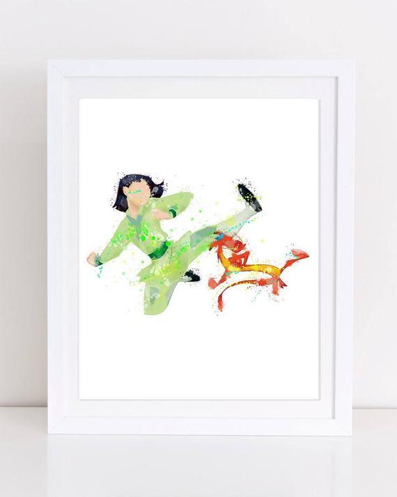 570x713 70% Mulan Watercolor Print Mulan Poster Disney Poster Etsy