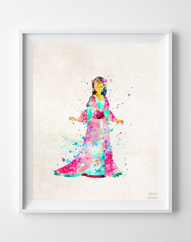 673x850 Mulan Print, Disney Princess, Mulan Art, Mulan Watercolor, Disney