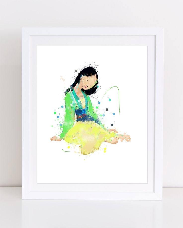 736x920 70% Princess Mulan Poster Watercolor Mulan Disney Poster Etsy