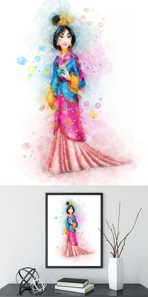 512x1024 Mulan Watercolor Print, Mulan Poster, Disney Poster, Nursery Print