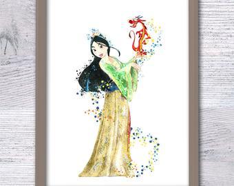 340x270 Disney Mulan Art Print Princess Mulan Art Poster Disney Wall