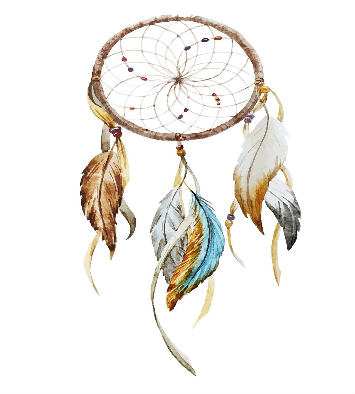 1181x1312 Feather Native American Watercolor Style Ornament Dream Catcher