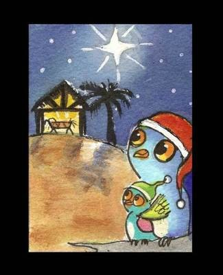 325x400 Aceo Owl Nativity Scene Christmas Holiday Original Watercolor Art