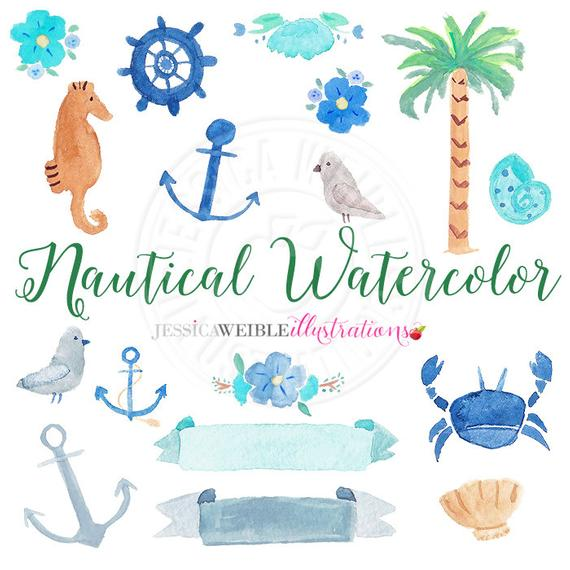 570x570 Nautical Watercolor Clipart Digital Watercolor Nautical Clip Etsy