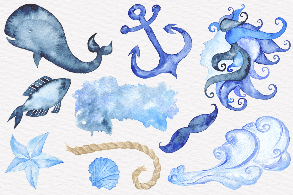 1160x772 Nautical Watercolor Collection By Tanya Kart
