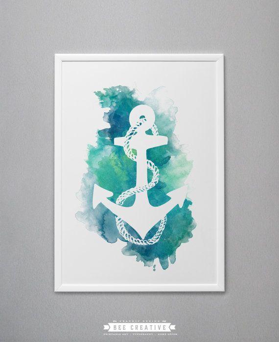 570x698 Anchor Digital Painting Nautical Watercolor By Beecreativeprints