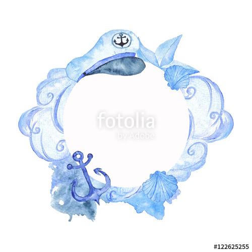 500x500 Nautical Frame Wedding Nautical Watercolor Illustration Hand