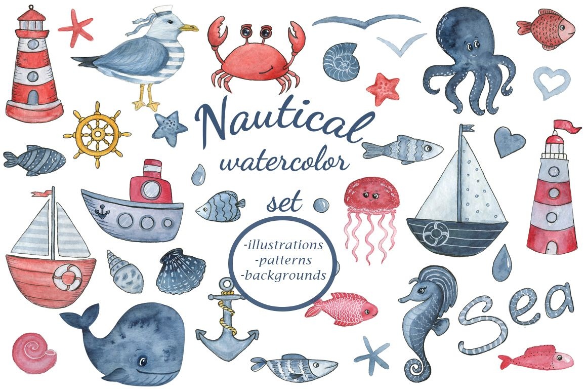 1158x772 Sea Dreams. Nautical Watercolor Set. Sea Clipart Collection