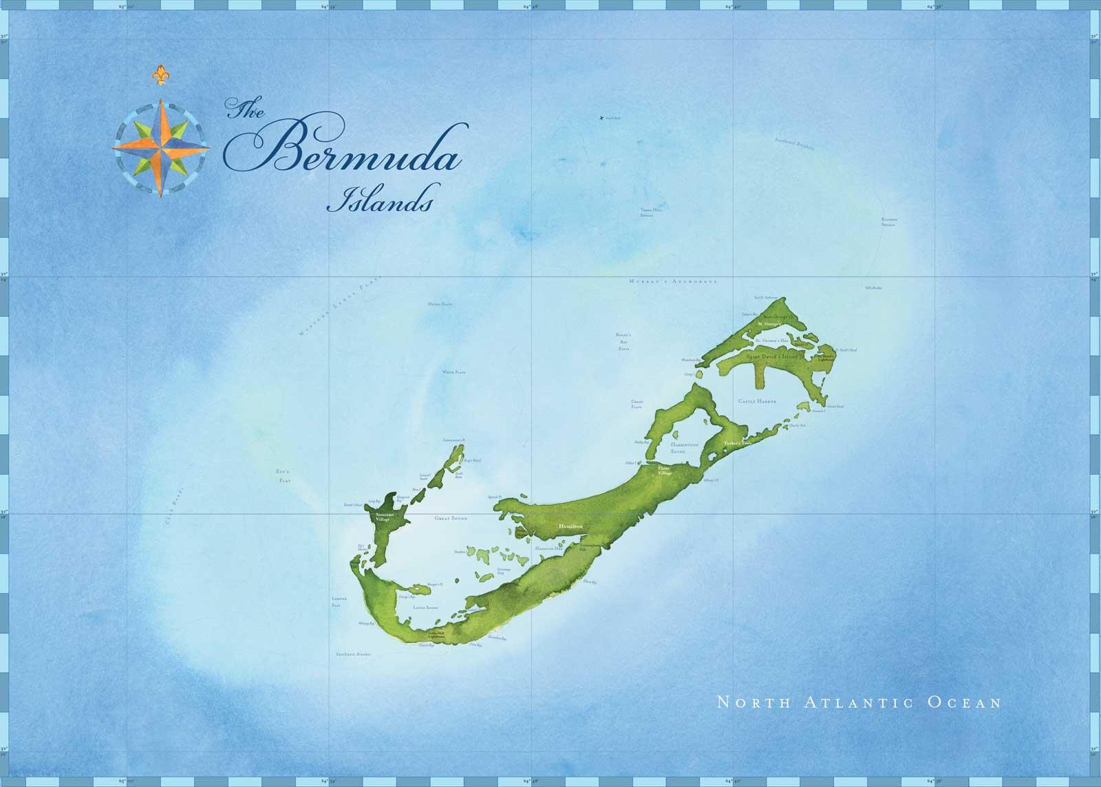 1600x1144 Bermuda Nautical Watercolor Chart My Custom Chart Custom