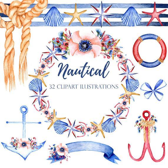 570x570 Nautical Watercolor Clipart Nautical Illustrations Diy Etsy