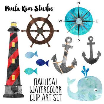 350x350 Free Nautical Watercolor Clip Art By Paula Kim Studio Tpt