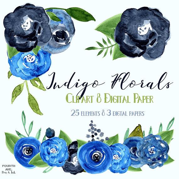 570x570 Indigo Blue Watercolor Flowers, Navy Blue, Dark Blue, Watecolor