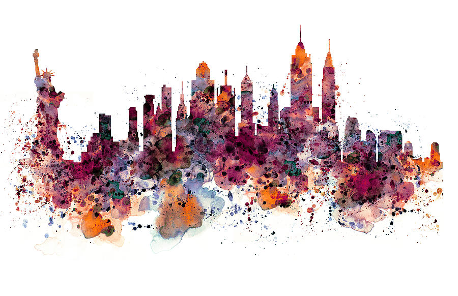 900x582 New York Skyline Watercolor Mixed Media By Marian Voicu