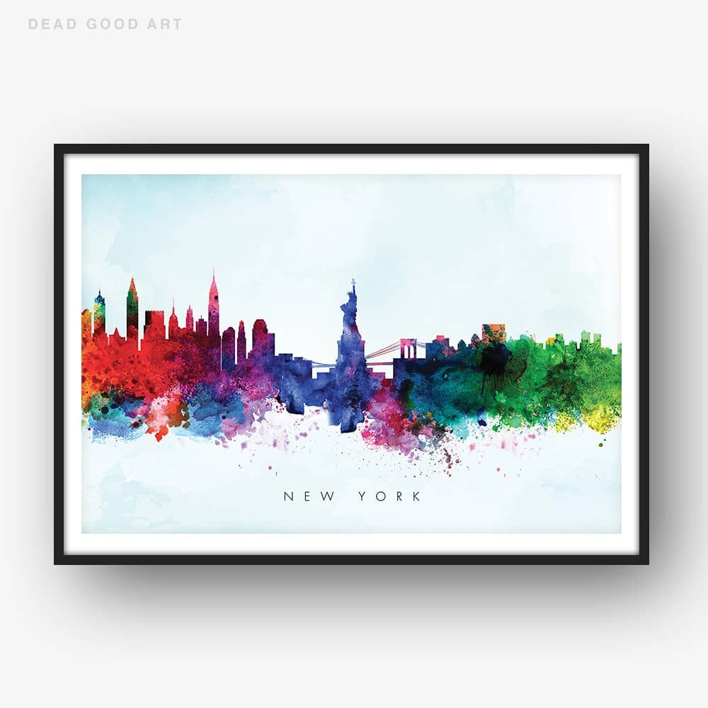 1000x1000 New York Skyline, Blue Wash Watercolor Print Dead Good Art
