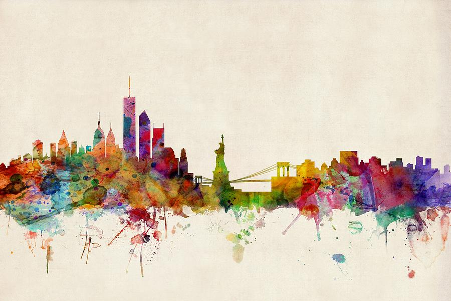 New York Skyline Watercolor At Getdrawings Com Free For Personal