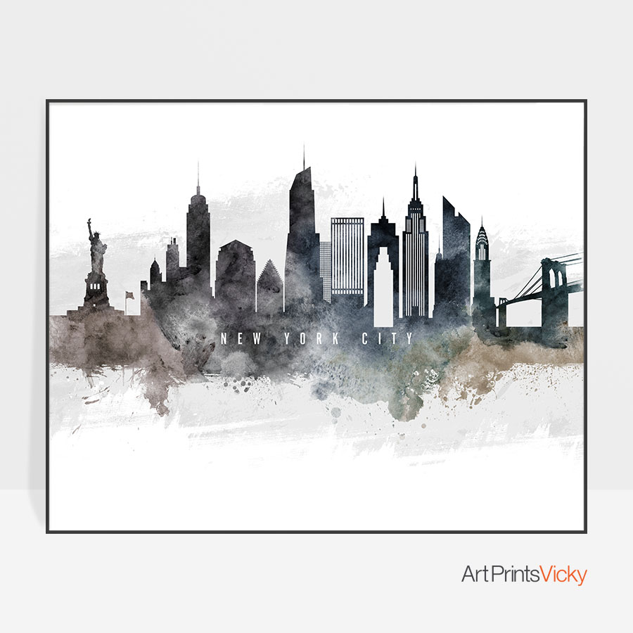900x900 New York City Art Poster Watercolor Artprintsvicky
