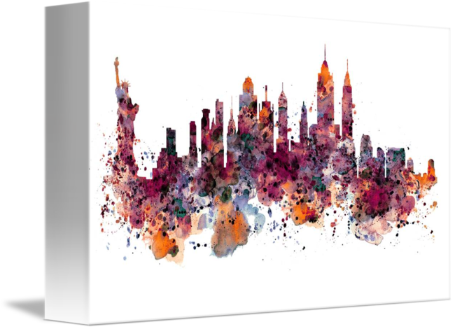 650x470 New York Skyline Watercolor By Marian Voicu