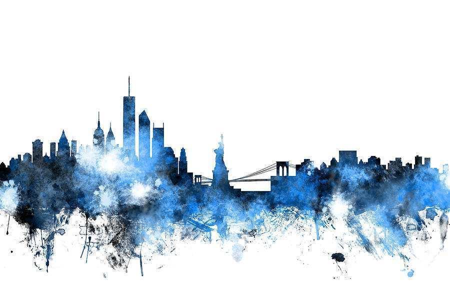 900x600 Skyline Painting Beautiful New York Skyline Digital Art By Michael