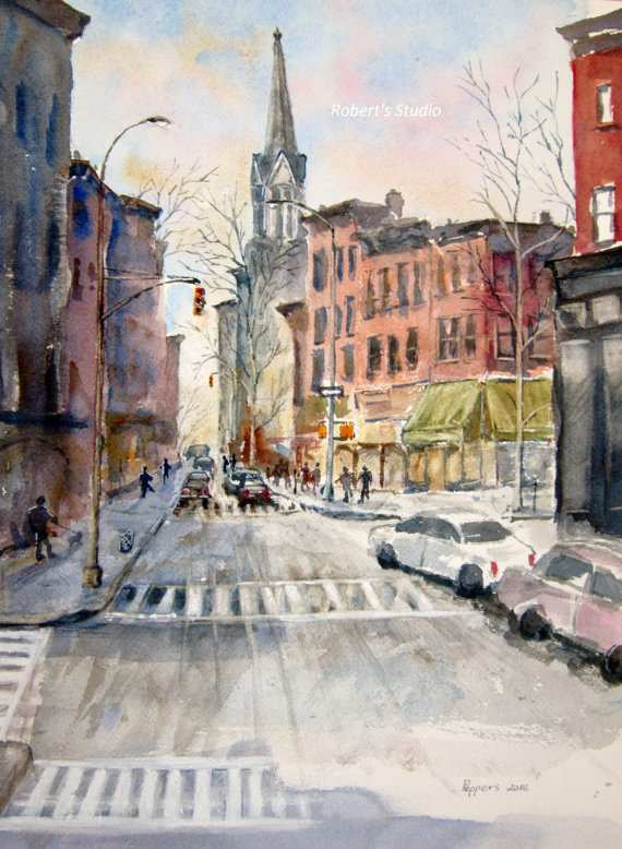 570x778 New York City Painting Elegant New York City Print Original