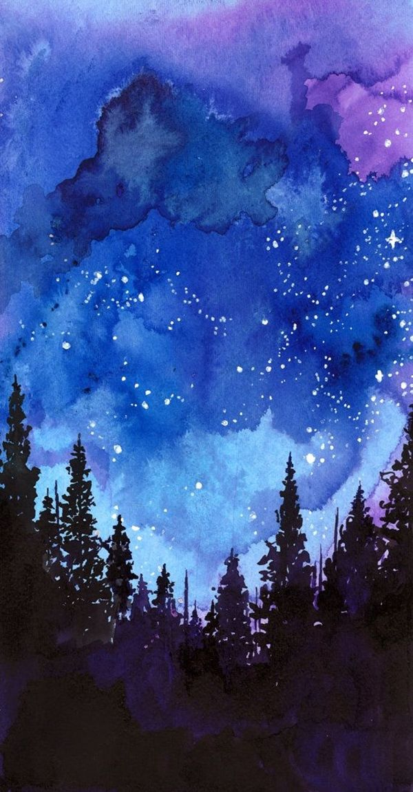 Night Watercolor Painting