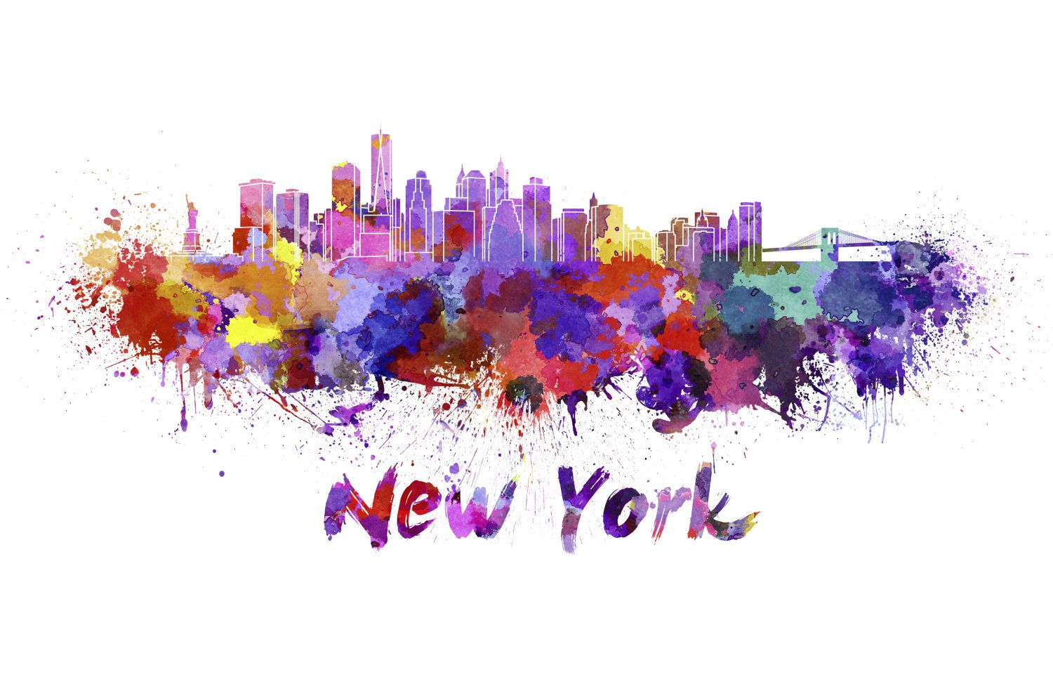 1500x984 New York City Skyline Watercolor Canvas, New York City Canvas
