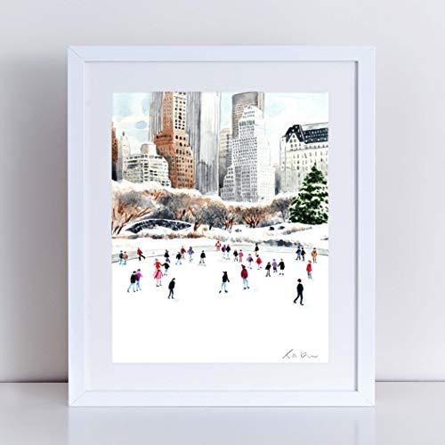 500x500 Central Park Ice Skating Print Central Park Art