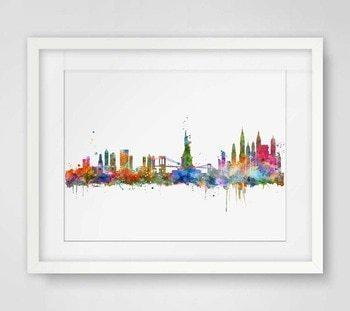 350x311 New York City Skyline Watercolor Poster Ny City Map Skyline Art