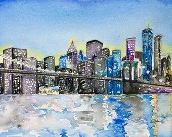 340x270 New York Skyline Cityscape Painting Nyc Skyline Watercolor