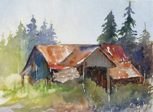 Old Barn Watercolor Paintings
