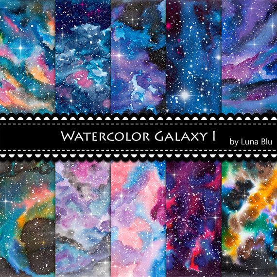 570x570 Galaxy Digital Paper Watercolor Galaxy Star Digital Paper