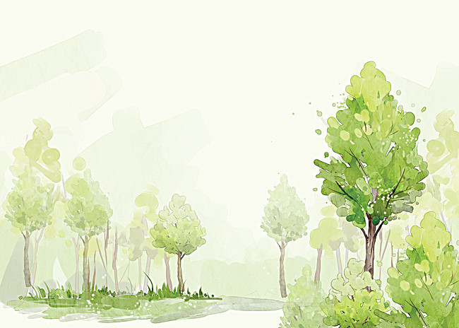 650x464 Cartoon Green Trees Background, Cartoon, Green, Hand Painted