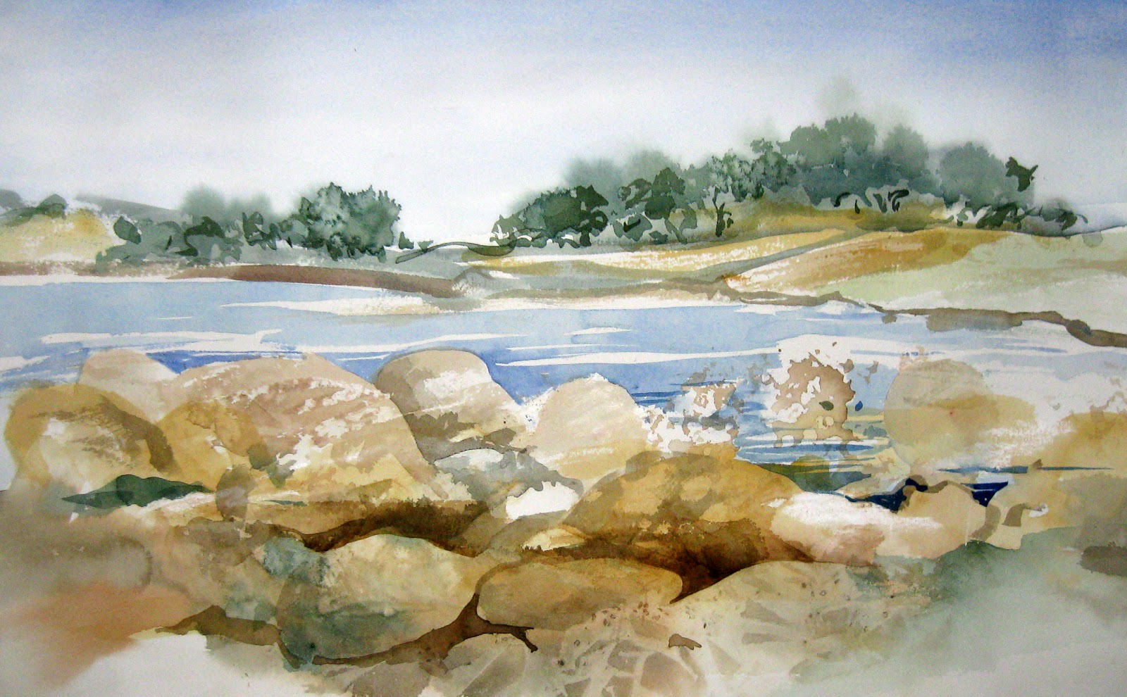 Painting Rocks In Watercolor