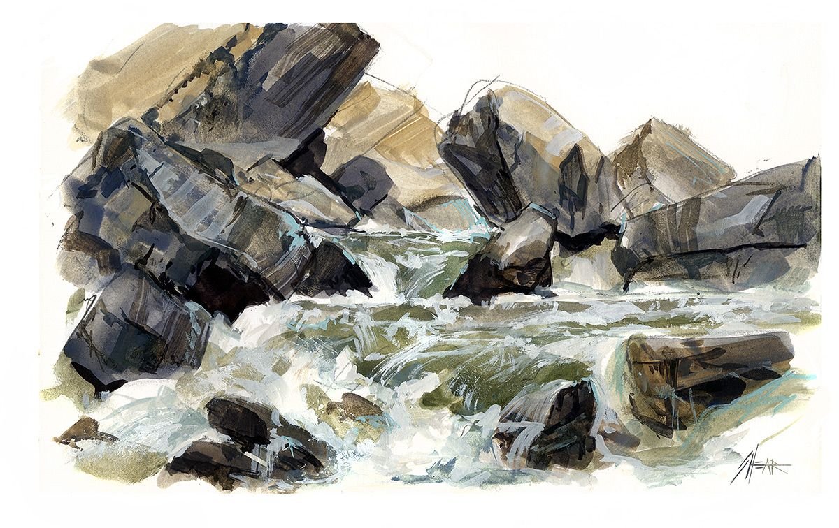 Painting Rocks In Watercolor At Getdrawings Com Free For