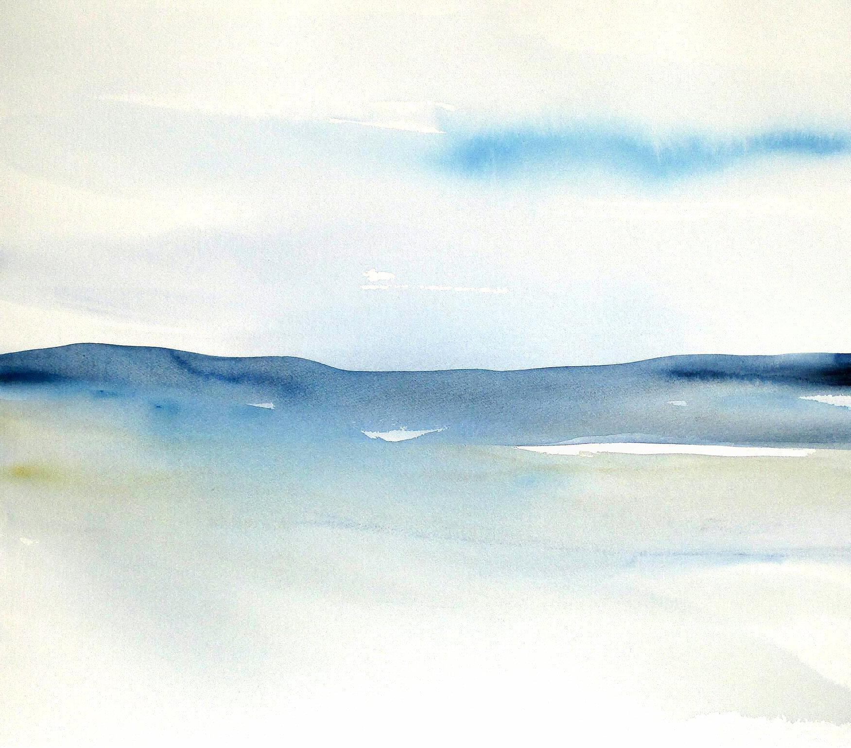 1751x1540 Original Contemporary Abstract Seascape Landscape Watercolor