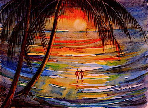500x367 Phong Trinh Watercolors Night Swim, Watercolour Painting