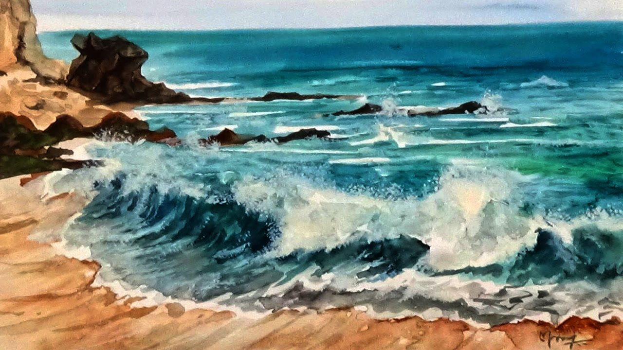 1280x720 Seascape Waves Watercolor Painting