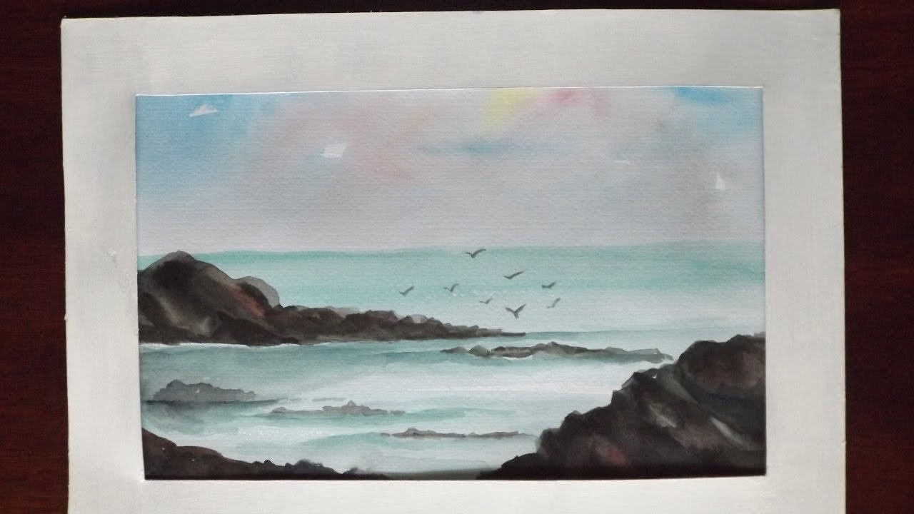 1280x720 Very Easy How To Paint A Little Seascape For Beginners Using