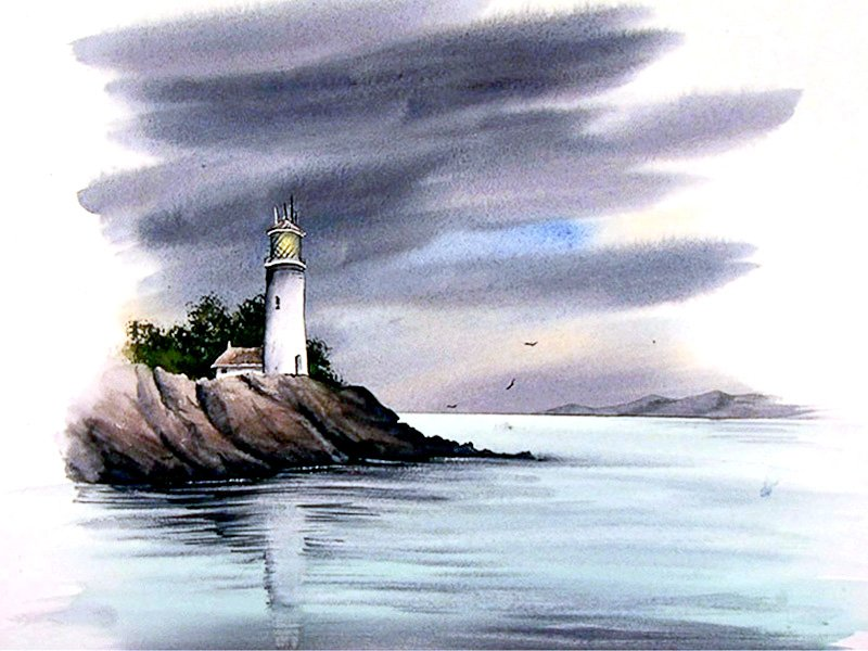 800x600 Watercolour Tutorial Paint An Atmospheric Lighthouse Seascape