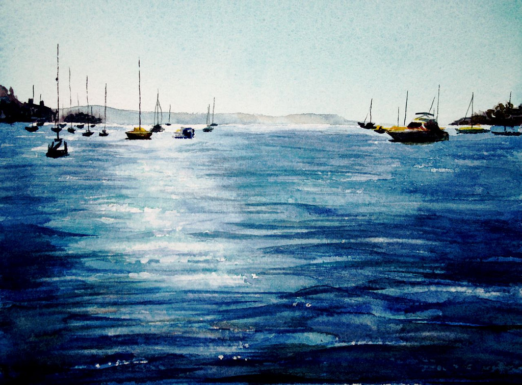 1024x754 Boats On The Water Original Seascape Watercolour Painting
