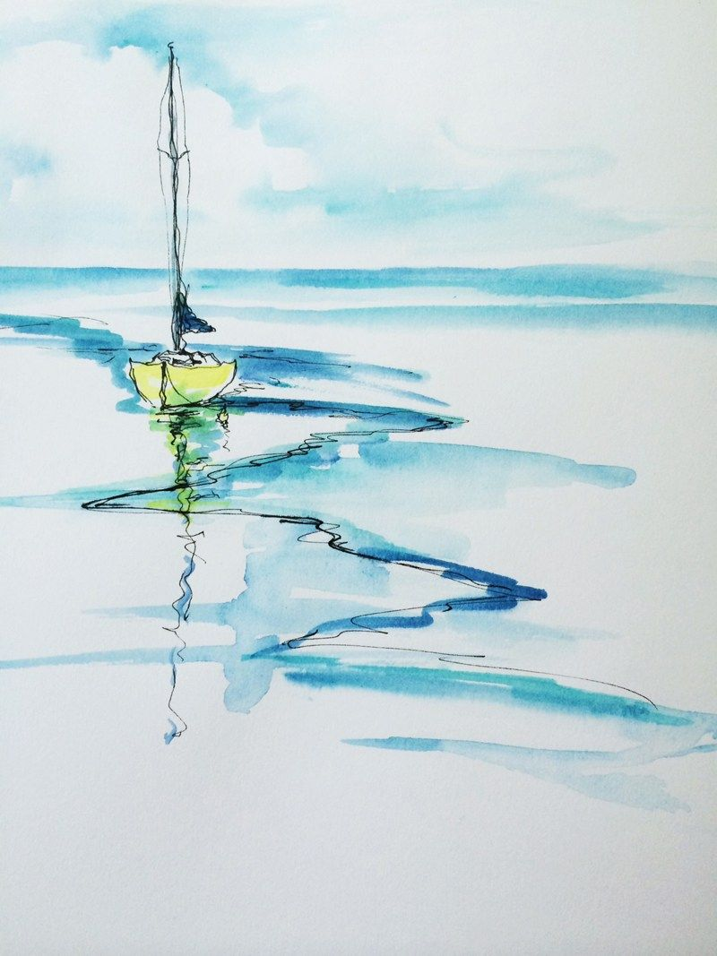 800x1067 Inspiration For Simple Seascape Watercolours , Ideas For The